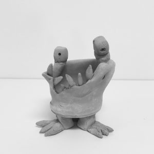 Clay vessel hand built by kids