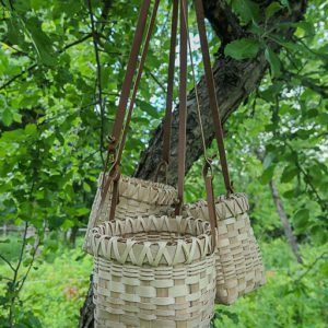 Photo of berry baskets hanging from a tree