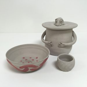 Hand built and wheel thrown clay vessels