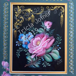 Painted roses within a fancy border