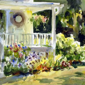 Watercolor painting of a porch and garden in summer