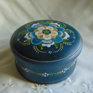 Floral painting on a covered bowl