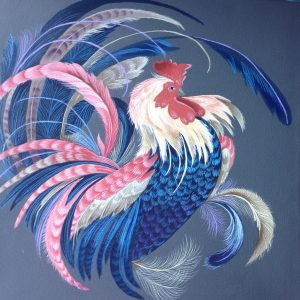 Painted fancy rooster