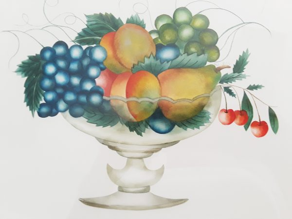 Painting of fruit in a glass bowl