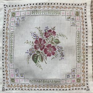 Wild Roses on Linen Handkerchief