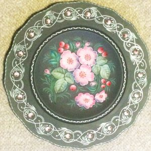 Wild roses painted on plate