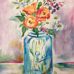 Painting of flowers in a Ball jar
