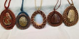 Pine Needle Coiled Pendants